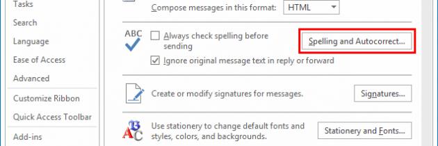 Outlook 2016: come disattivare correzione automatica